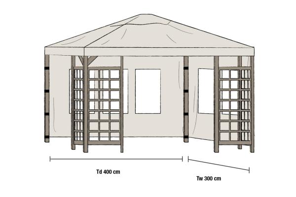 Hov paviljong sidovägg 1 par 300x400 beige Brafab