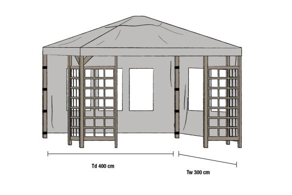 Hov paviljong sidovägg 1 par 300x400 grå Brafab