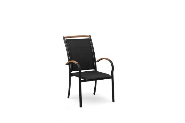 Stapelstol Nydala svart alu. svart textilene Hillerstorp