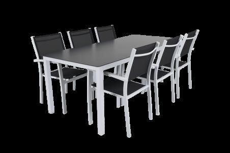 Rana matbord 200x90 H73 vit med glas Brafab