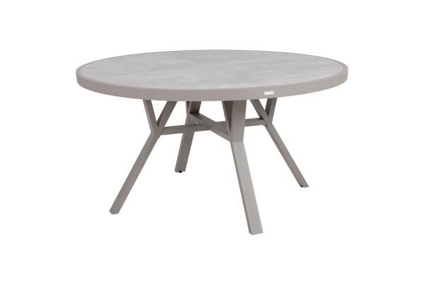 Samvaro matbord rund Ø140 H73 beige med glas Brafab