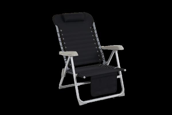 Ulrika strandstol svart med ficka Brafab