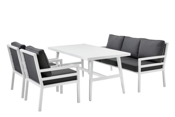 Bergerac soffa 3-sits vit med gråa dynor Brafab