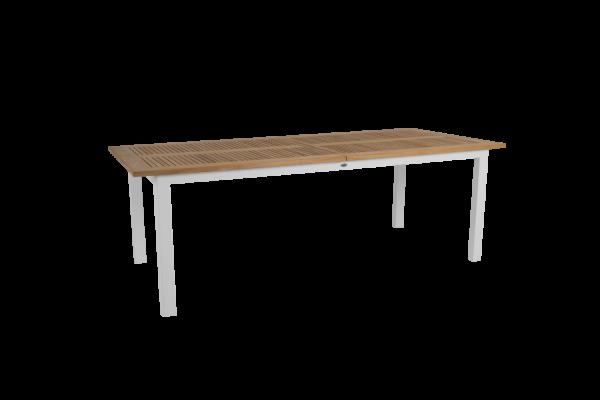 Lyon matbord utdragbart 224/304x100 H76 cm vit/teak Brafab