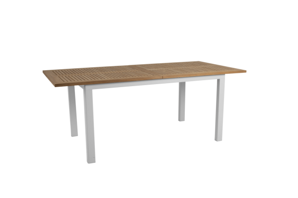 Lyon matbord utdragbart 194/252x92 H76 cm vit/teak Brafab