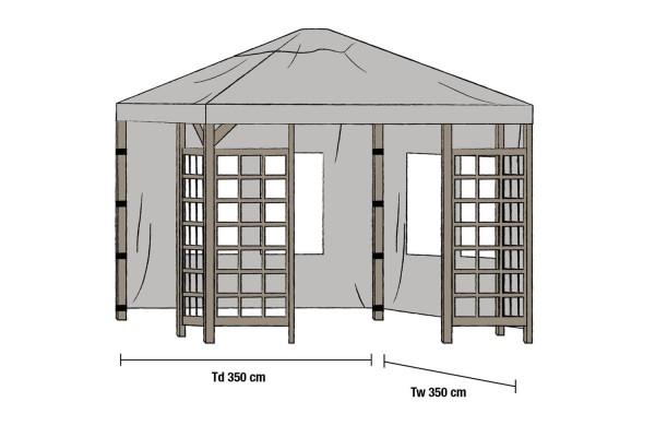 Hov paviljong sidovägg 1 par 350x350 grå Brafab
