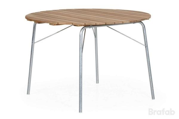 56:an matbord Ø110 H74 cm galvad stål/teak Brafab