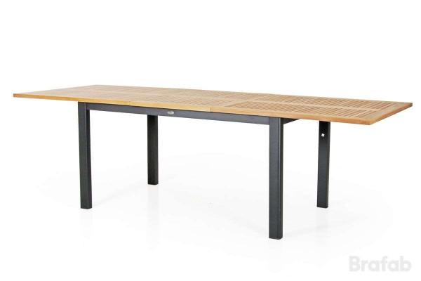 Lyon matbord utdragbart 194/252x92 H76 cm svart/teak Brafab
