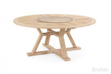 Circus matbord Ø180 h75 teak vitblästrad med serveringsbricka teak