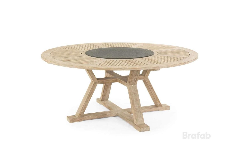 Circus matbord Ø180 h75 teak vitblästrad med serveringsbricka laminat