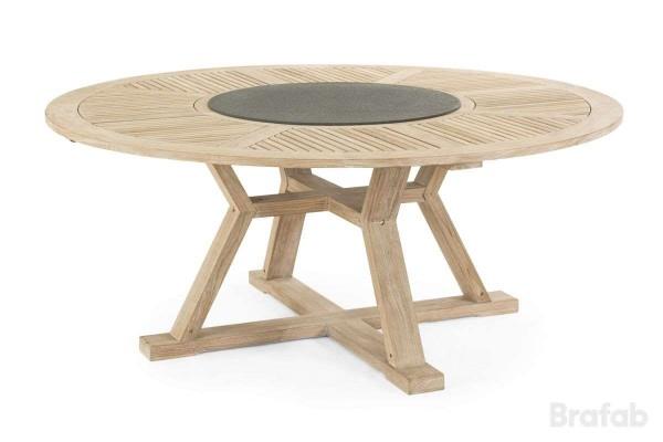 Circus matbord Ø180 h75 teak vitblästrad med serveringsbricka superstone