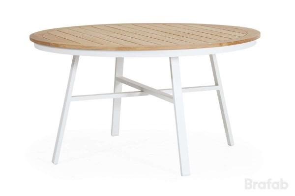 Olivet matbord Ø140 H75 cm vit/teak Brafab