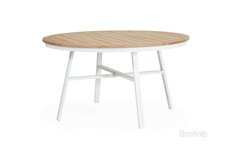 Olivet matbord Ø140 h75 vit/teak