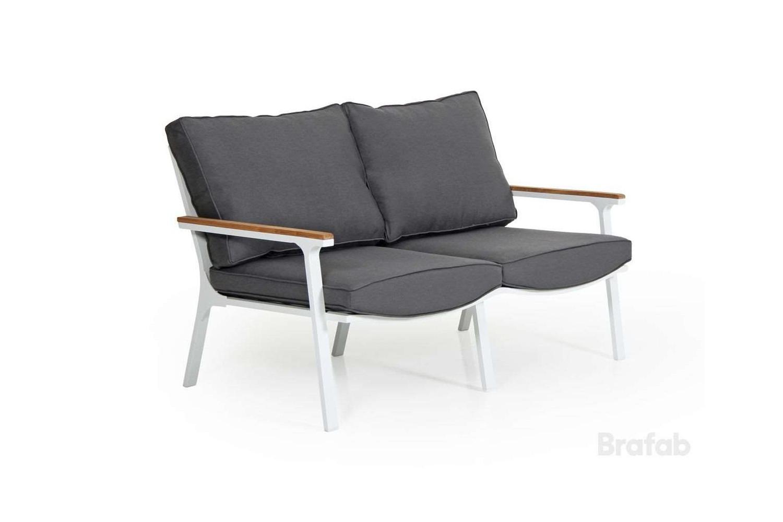 Olivet soffa 2-sits vit med grå dyna