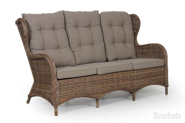 Evita 3-sits soffa brunmelerad utan dyna
