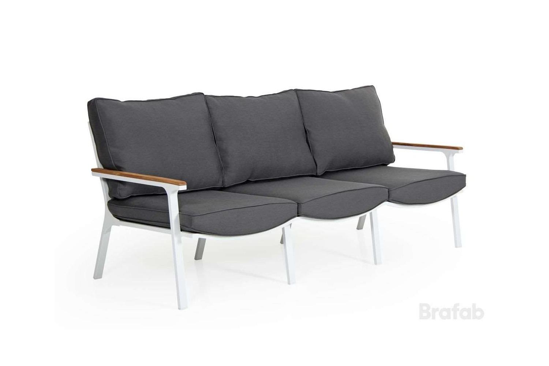 Olivet soffa 3-sits vit med grå dyna