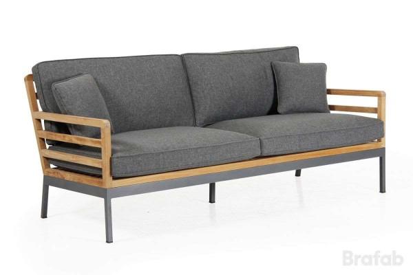 Zalongo 3-sits soffa med grå dyna teak natur Brafab