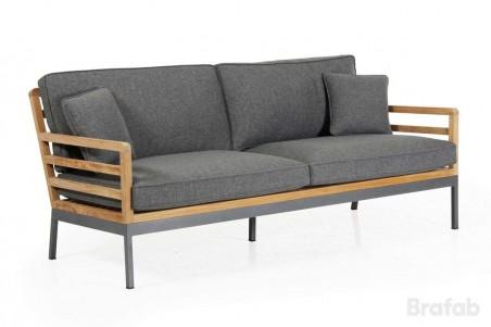 Zalongo 3-sits soffa med grå dyna teak natur
