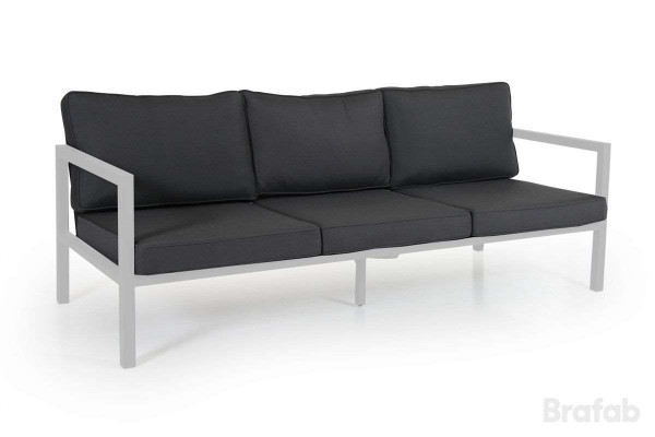 Belfort soffa 3-sits vit med grå dyna