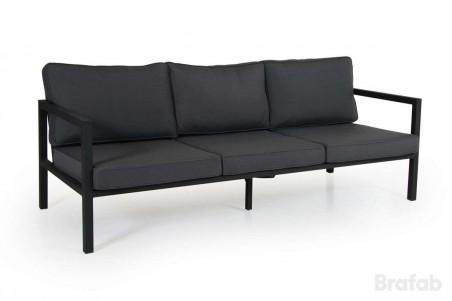 Belfort soffa 3-sits svart med grå dyna
