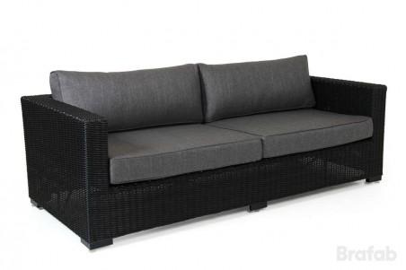 Ninja 3-sits soffa svart halvrygg med grå dyna