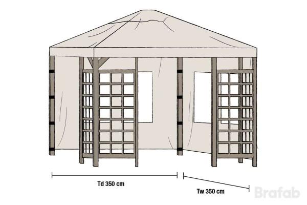 Hov paviljong sidovägg 1 par 350x350 beige Brafab