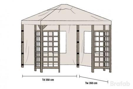 Hov paviljong sidovägg 1 par 350x350 beige 1 par Brafab