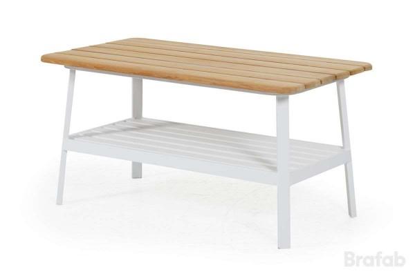 Olivet soffbord 150x75 h56 vit/teak