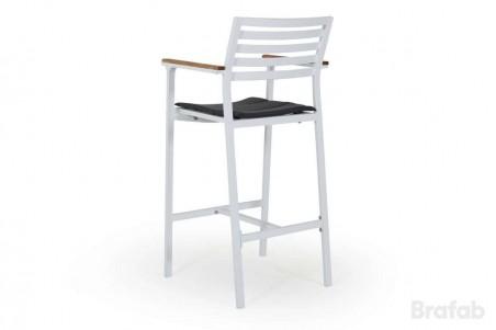 Olivet barstol vit med grå dyna