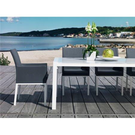 Balma karmstol grå med grå textil Brafab