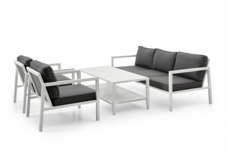 Belfort soffa 3-sits vit med grå dyna Brafab