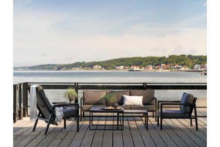 Belfort soffa 3-sits svart med grå dyna Brafab