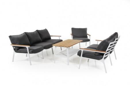 Olivet soffa 3-sits vit med grå dyna Brafab