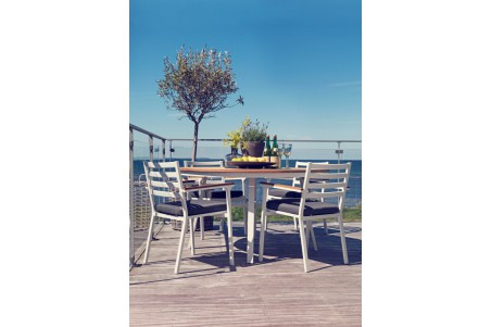 Olivet matbord Ø140 h75 vit/teak Brafab