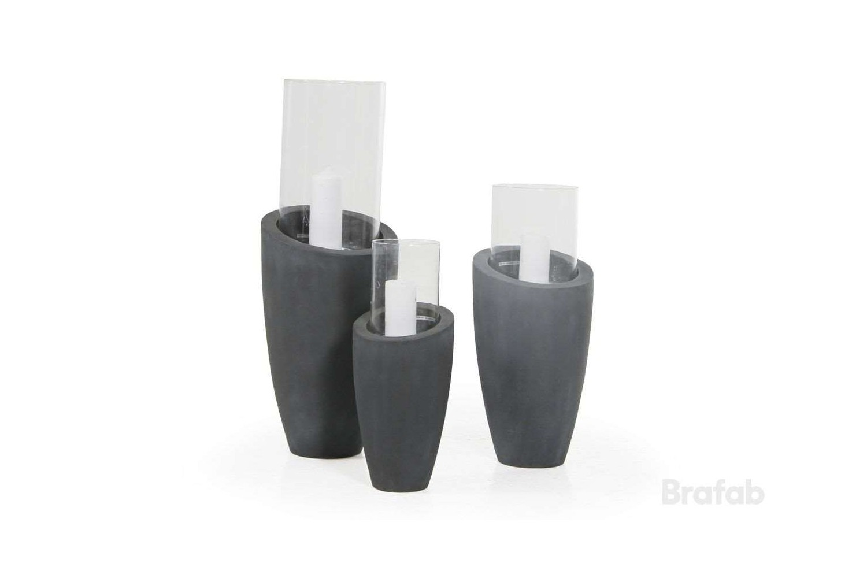 Roque ljuslykta 87 grå/glas 32