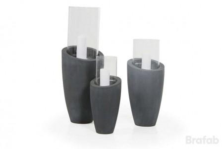 Roque ljuslykta 65 grå/glas 28